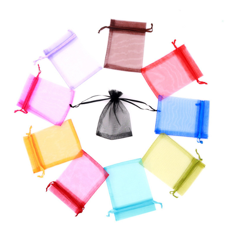 50pcs Organza Gifg Bags 7x9cm/9x12cm/10x15cm/13x18cm Wedding Party Favor Gift Bag Jewelry Packaging Pouches Earring Holder