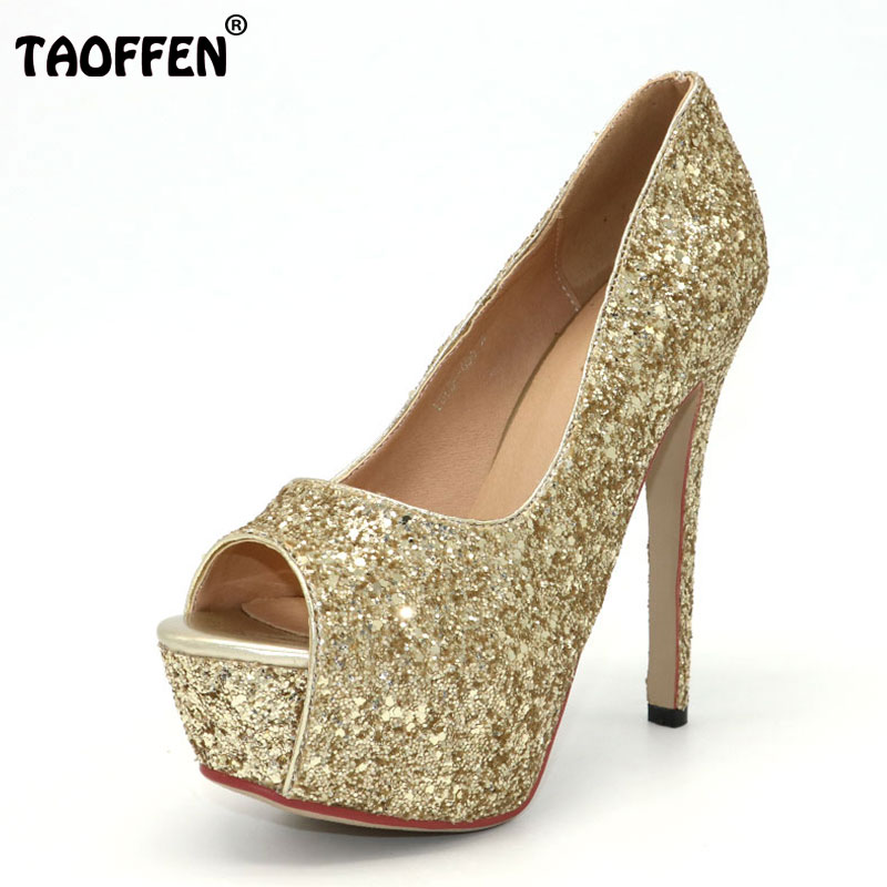 цена на TAOFFEN women peep open toe high heel shoes platform party sexy lady footwear fashion heeled pumps heels shoes size 32-43 P18133