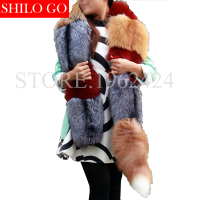 Plus size top 2017 winter new fashion women high quality party banquet Milan show long tail sliver blue red fox fur Pashmina