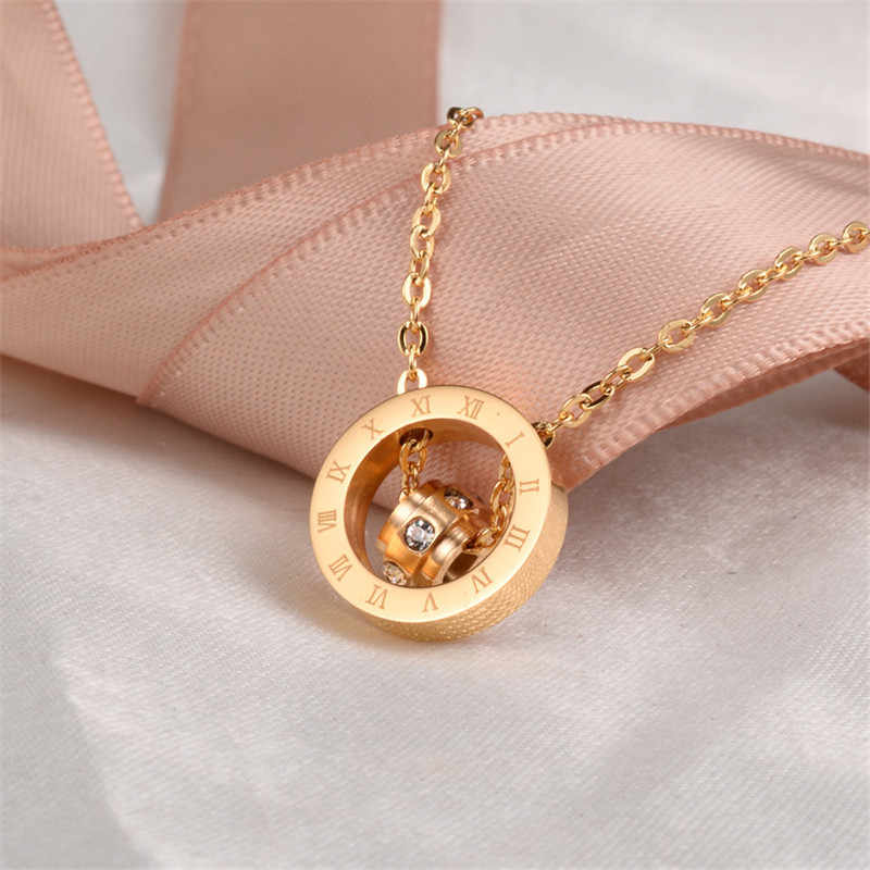 Martick Europe Brand Gold-color Crystal Pendant Necklace Link Chain Round Double Loop Roman Numerals Woman Jewelry G4