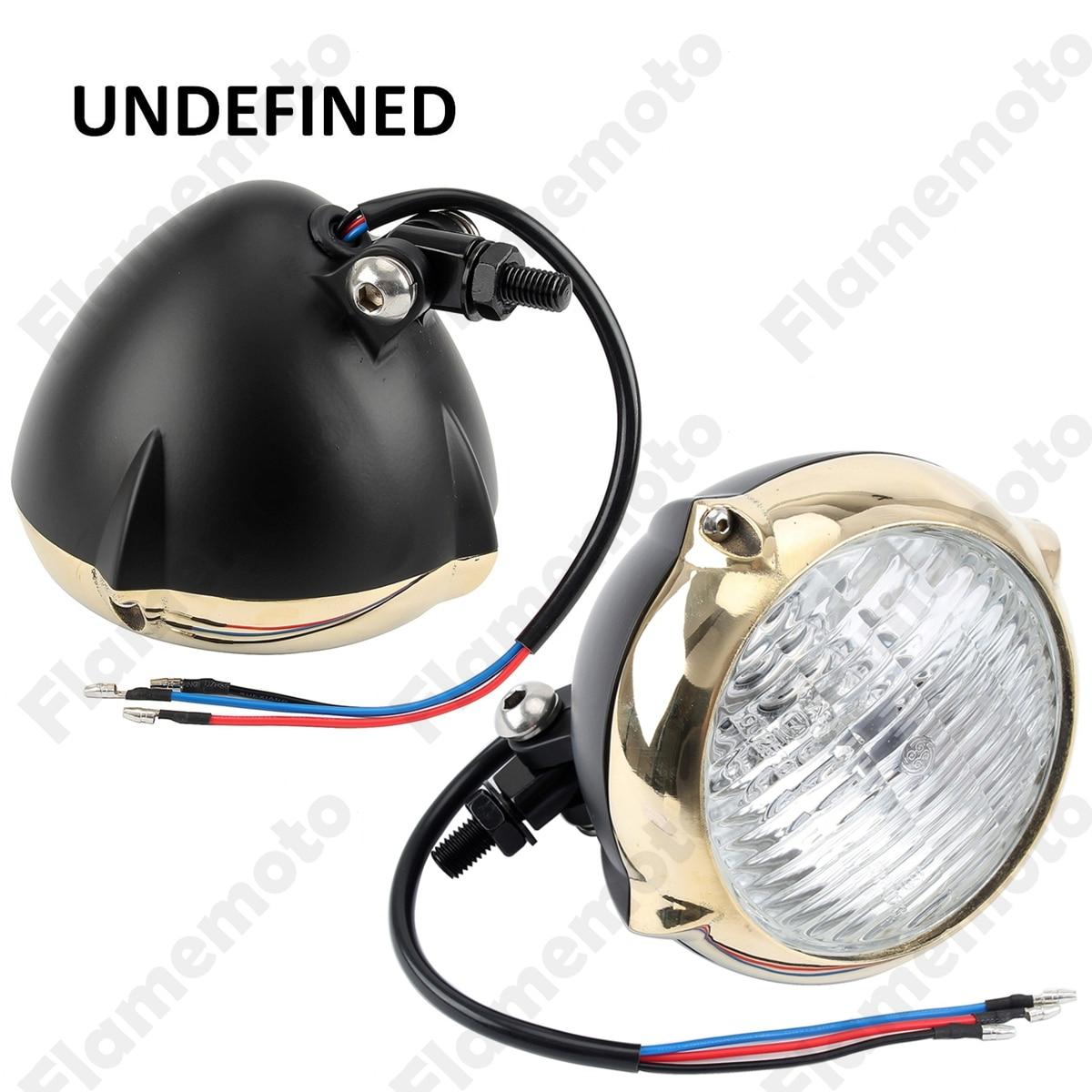 Motorcycle Accessories Black Copper Ring Vintage Bullet Motorbike Headlight Lamp For Bobber Chopper Custom UNDEFINED
