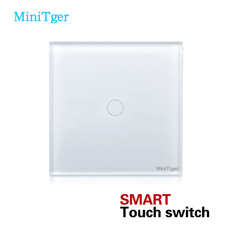 MiniTiger EU Standard touch Switch, Wall Switch, Crystal Glass Panel, 1 Gang 1 Way smart touch switch smart home eu touch switch wireless remote control wall touch switch 3 gang 1 way white crystal glass panel waterproof power