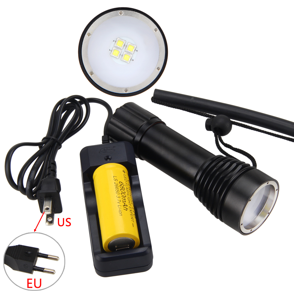 4000lm 4X XM-L L2 LED Scuba Diving Flashlight Torch Light 26650 Waterproof 100m+26650+Charger powerful underwater flashlight led scuba diving lanterna xml l2 waterproof led torch dive light 18650 26650 rechargeable battery