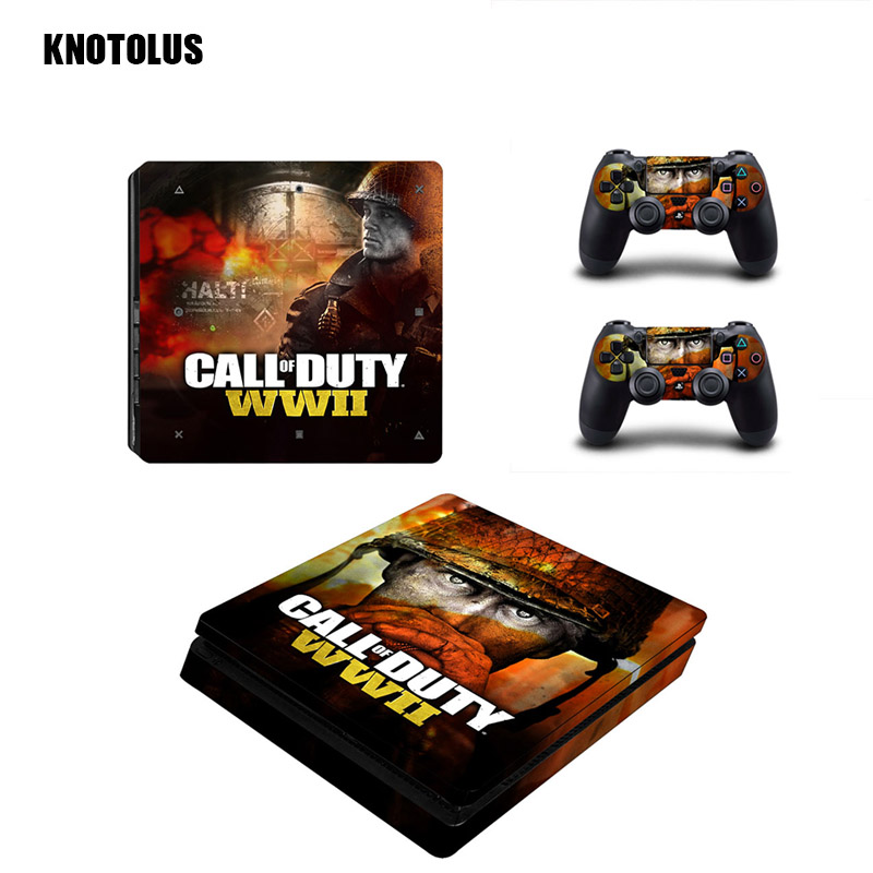 Call of Duty:WWII Series stickers Vinyl Cover Decal for ps4 Slim Skin Sticker for Sony Play Station 4 Slim Console Controller