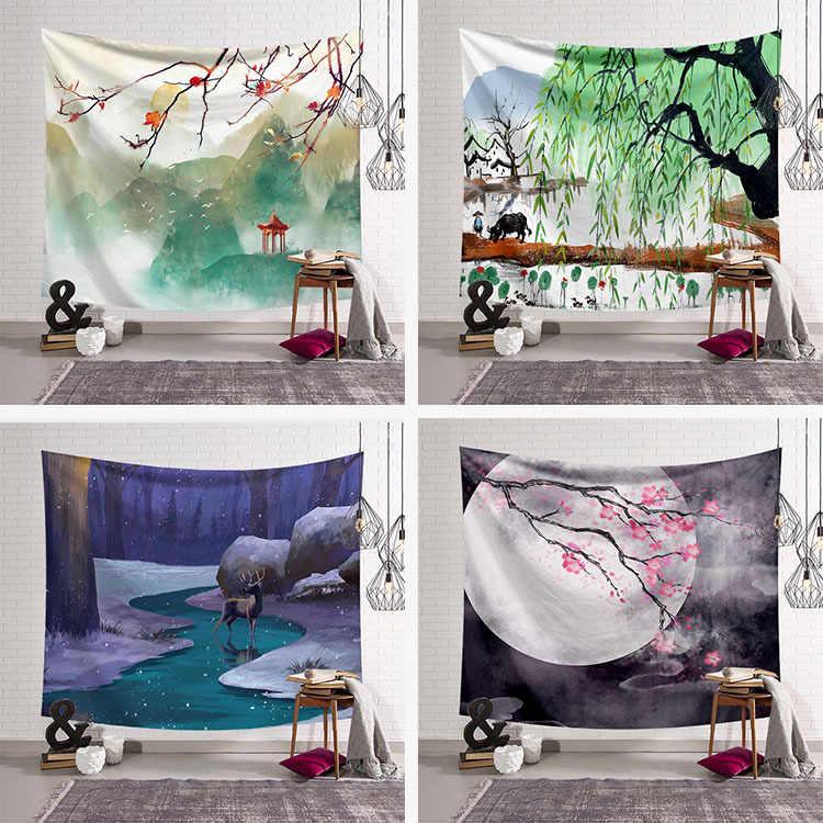 Chiński styl gobelin tkaniny wystrój sezon gobelin ściany wiszące koc ręcznik plażowy duży mata do jogi 200x150cm narzuta na łóżko dywan