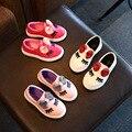 Nuevos Bebés de La Manera Zapatos de Diseño Clásico de Algodón Niños Ojos Pisos Bling Bow Kids Shoes Calzado Squined Otoño Zapatos