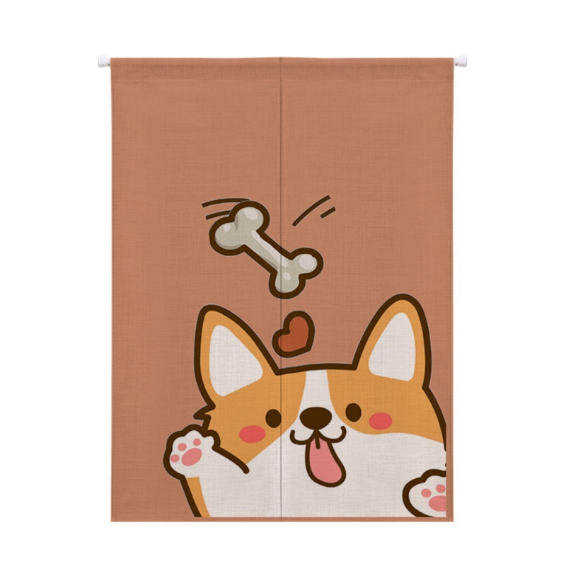 Image 2 - For Home Decoration Cartoon Animal Printed Cotton And Linen Japanese Style Noren Doorway Curtain Hanging Tapestry-in Window Screens from Home & Garden