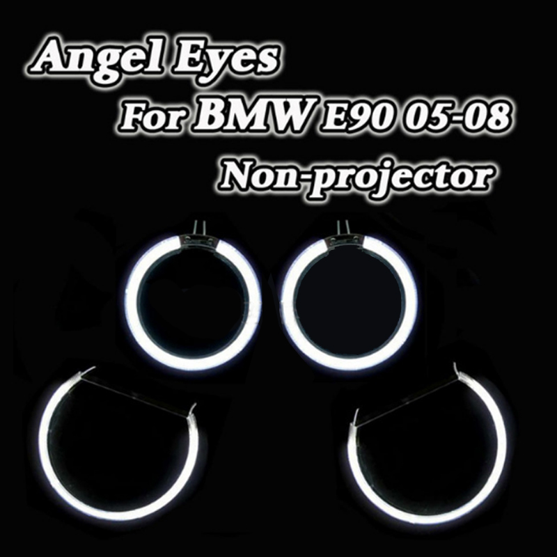 CCFL Angel Eyes Halo Rings DRL Kit Car CCFL Angel Eyes For BMW 3 Series E90 2005 2008 Non projector Headlight Lens Good Quality