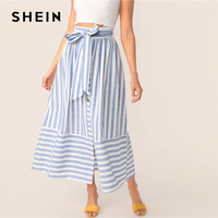 b2593d02eb SHEIN Boho Blue Buttoned Split Front Belted Mix Striped High Waist Skirts  Womens Spring Elegant Casual
