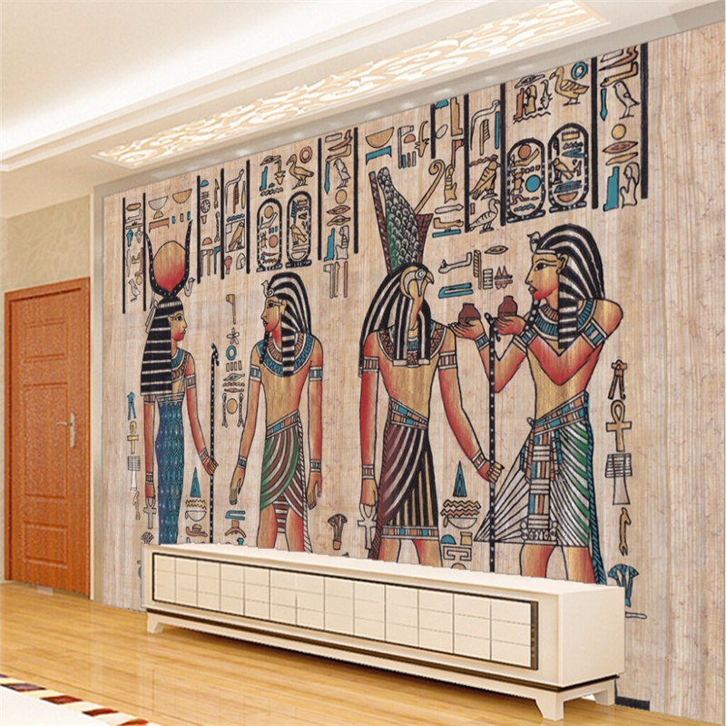 Beibehang murals 3d wall paper home decor photo background for Egyptian wallpaper mural