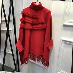Image 4 - Women Real Rabbit Fur Cloak Pullover Coat New Arrival Fashion Spring Lady High Collar Bat Sleeves Tassel Poncho Sweater Coat