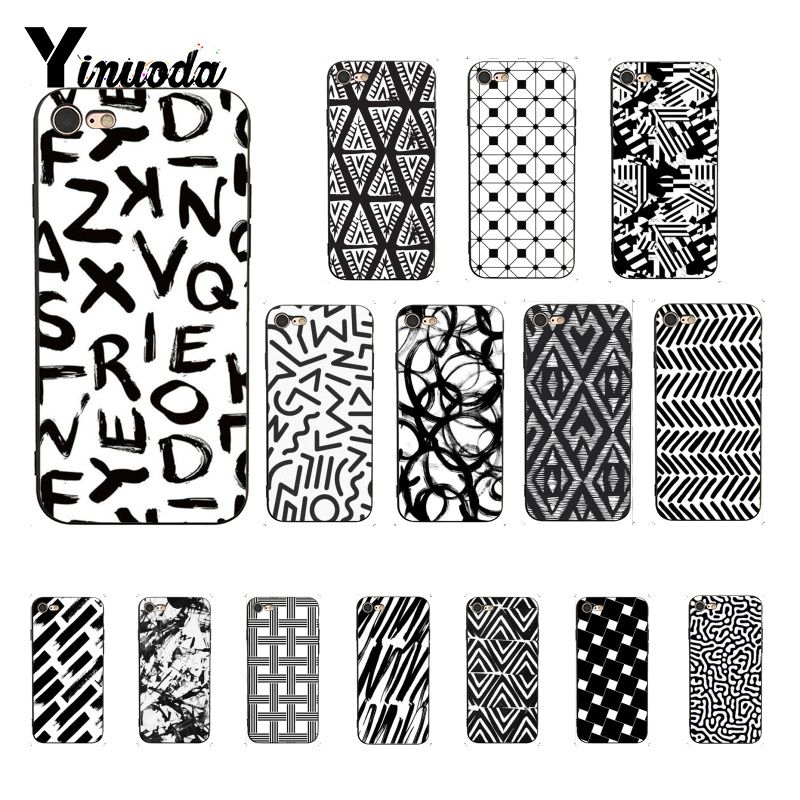 Yinuoda Black & White Pattern Luxury Unique Design <font><b>PhoneCase</b></font> for <font><b>iPhone</b></font> 6S 6plus 7 <font><b>7plus</b></font> 8 8Plus X Xs MAX 5 5S XR image