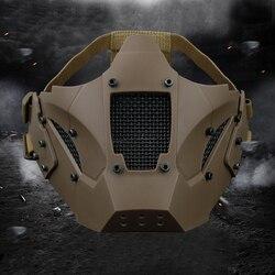 Охота защиты маска на пол-лица дышащий Военная Униформа тактический маска Airsoft Пейнтбол CS игровая маска для шлем разъем