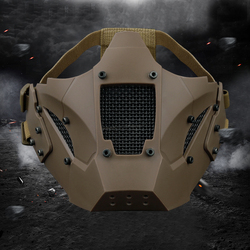 Caza protección media cara máscara transpirable táctico militar de la máscara de Airsoft caza Paintball CS juego máscara casco de conector