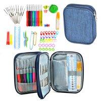 72pcs Mix 21 Sizes Crochet Hooks Set Soft Rubber Handle Yarn Knitting Needle Set With Blue