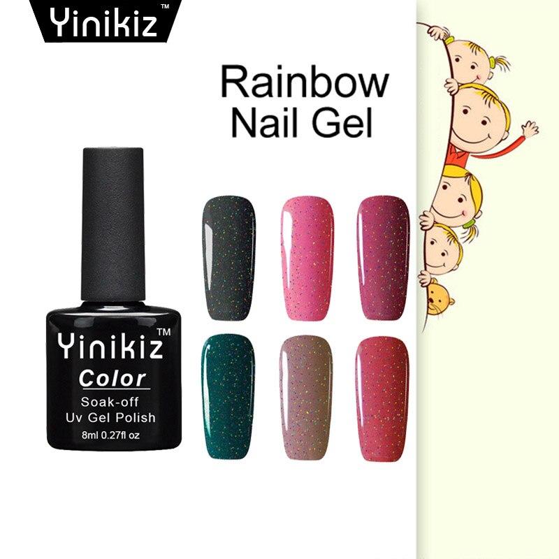 Yinikiz Rainbow Neon Nail Gel Polish Top Coat Top It Off