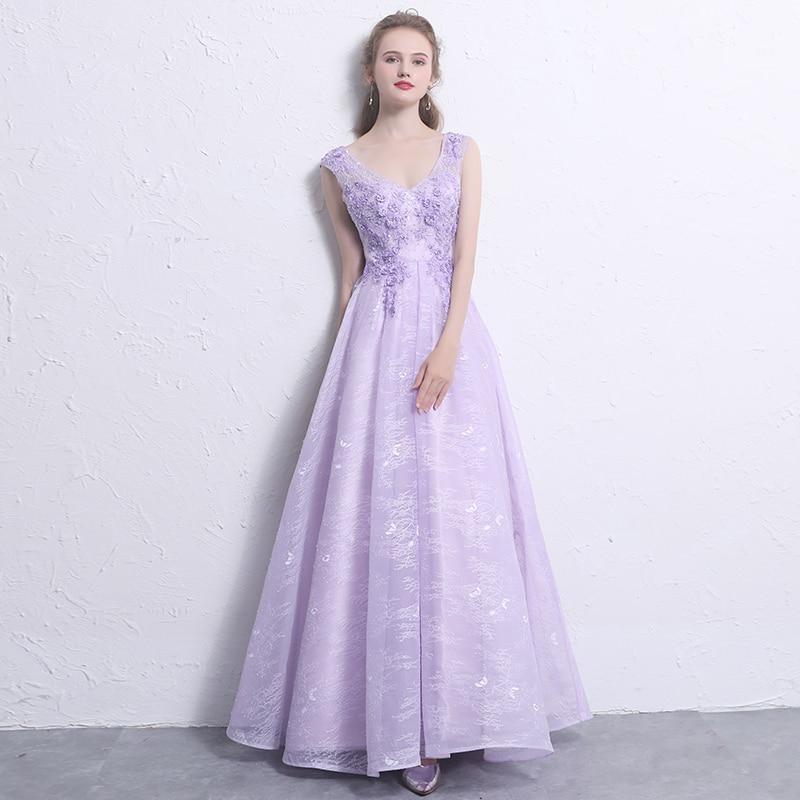Light Purple Evening Dresses Long 2018 New Elegant V Neck Lace ...