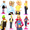 4sets/lot New Design Handmade Clothes Suit Set Leasure Wear Winter Dress Coat Shoes Clothing Accessories For Toy Barbie Doll