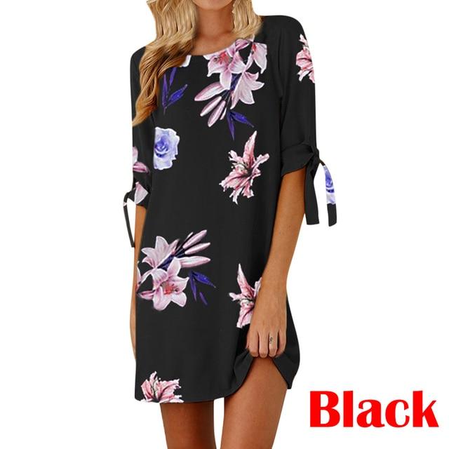 Womens Floral Print Summer Dress Shirt Sleeve Sexy Short Mini Dress Casual Short Sleeve Black Party