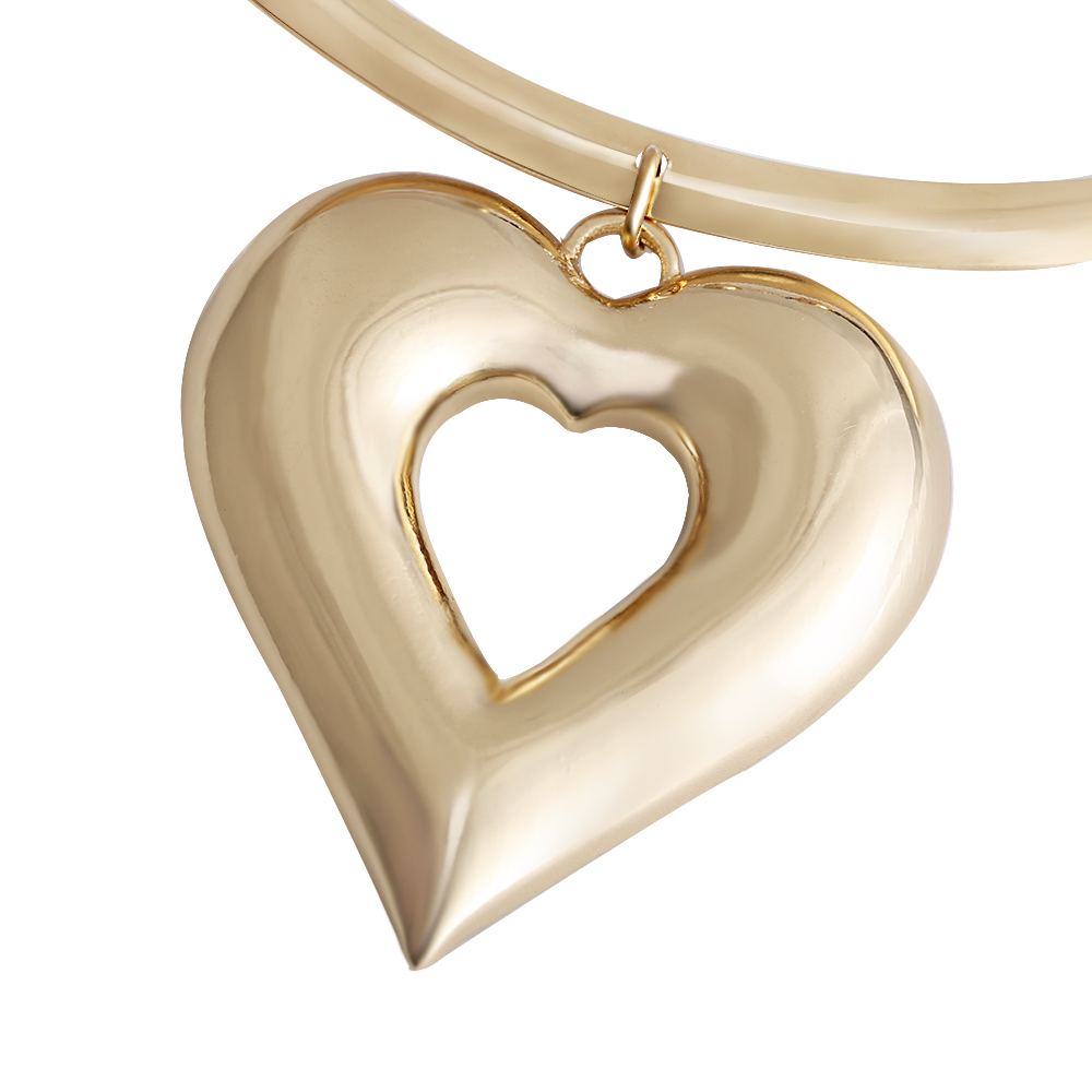 VIVILADY Trendy Heart Metal Jewelry Sets Gold Color Zinc Alloy Boho Choker Necklace Earring African Women Wedding Accessory Gift 3