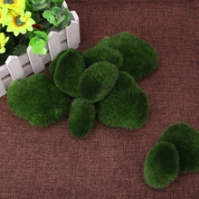 10pcs Green Artificial Moss Stones Ball Fake Grass Plant Stone For Home DIY Landscape Decor