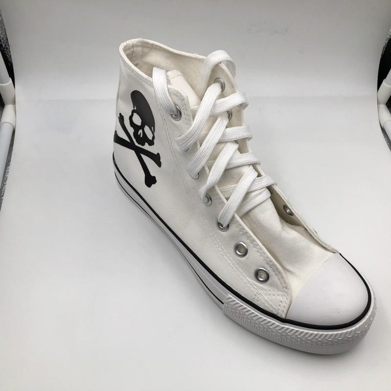 Mode 2018 Neue Punk High Top Leinwand Schuhe Lace Up Atmungsaktive Schädel Druck Frauen Casual Schuhe Plattform Kupplungen Schuhe
