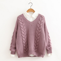 Autumn Winter New Connection Japanese Mori Girl Sweaters Sweet Girls V Neck All Match Pullover Sweaters Winter Preppy Style