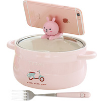 Creative Kawaii Large Instant noodles Lunch Box with fork Portable Bento Box with Lid Put Mobile Phone Student School Bowl Set