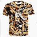 A Qualidade superior 2016 Verão dos homens Novos da Marca Curto Cigarro/Bala T-shirt Moda O-pescoço de Manga Comprida Casuais camisa T 3d tshirt homme