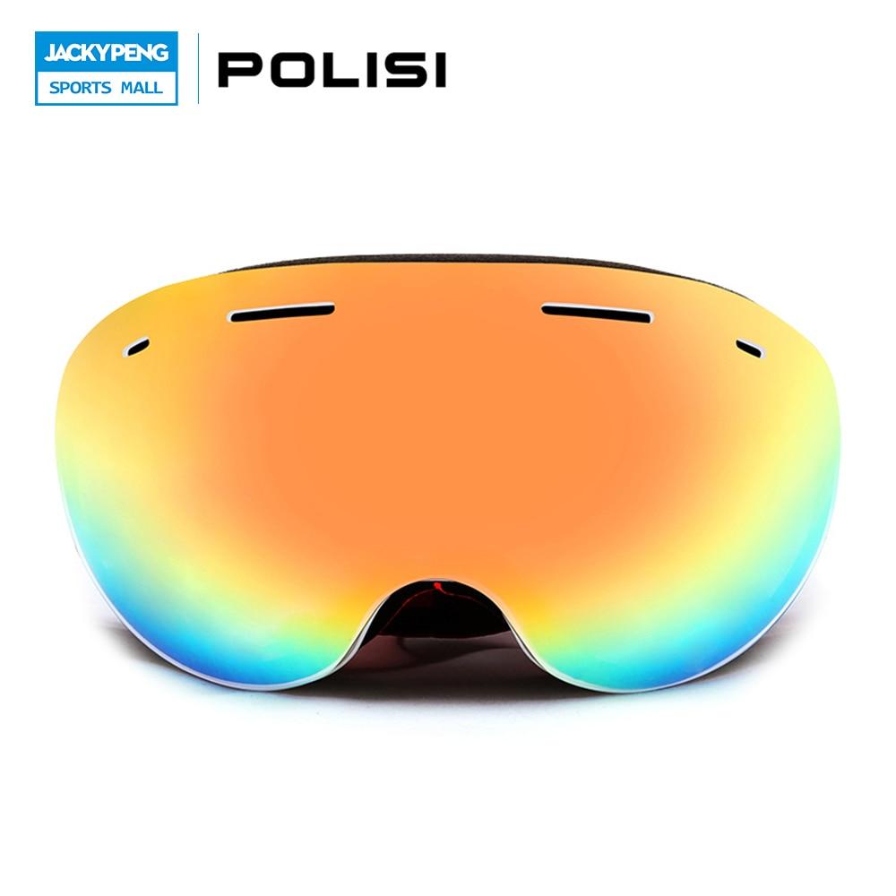 POLISI Мужчины Женщины Gafas Лыж Катание На Лыжах Очки Большой Сферический Двухслойные Объектива Мотокросс Очки Анти-Туман UV400 Снег Очки