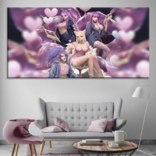 Kda Ahri Kaisa Evelynn Akali Sexy LoL Painting On Canvas Print Type And The Wall Decor Artwork 1 Panel Style Game Poster