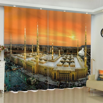 Eid Mubarak Great Mosque of Mecca Palace Curtains Blackout for Living Room Bedroom Short Drapes French Window Drapes Custom Made