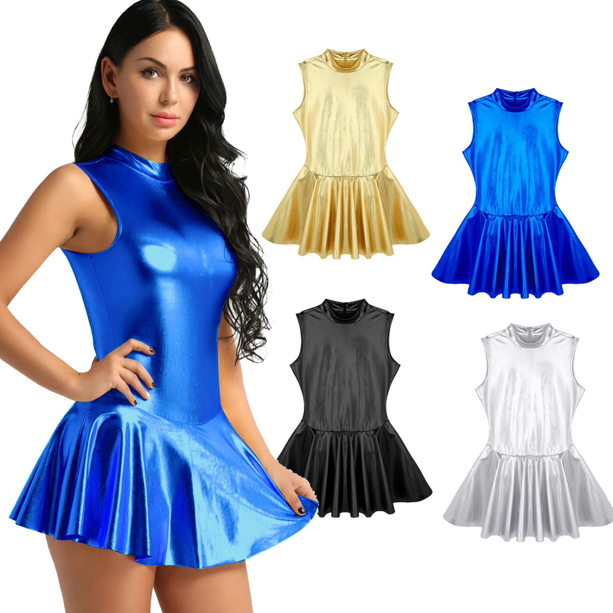 Womens Femme Pole Dancing Dress Shiny Metallic Stand Collar Back Zippered A-line Night Party Clubwear for Lyrical Dance Costumes