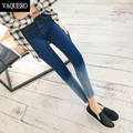 Skinny Ankle Jeans For Women Femme Slim Gradient Colour Stretch Ripped Holes Knee Denim Ankle Pants Woman Black Blue 9/10 Length