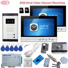 9inch Video Intercom For The Apartment Video Intercom With Recording With 2 Monitors + 8GB TF Card Intercom Rfid Door Lock Kit