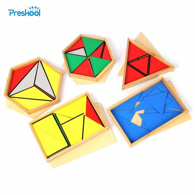 Bébé jouet Montessori Triangles constructifs avec 5 boîtes pour l'éducation de la petite enfance formation préscolaire jouets d'apprentissage