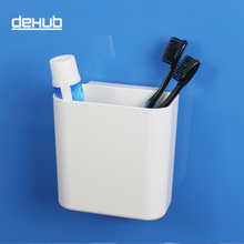 Suction cup toothbrush holder  for bathroom accessories set in white Dehub