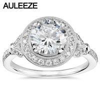 Vintage Solid 14 K Białe Złoto Pierścionek zaręczynowy 1.5Ct Moissanites Pierścień Stary Europejski Okrągły Cut Lab Grown Diament Obrączki kobiety