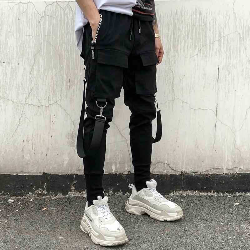 b1726805c9e26 Chándal Jogger Nueva Hombres Negro Streetwear Hip Hop Harem Joggers 2018  Multi Black Pantalones Moda bolsillo ...