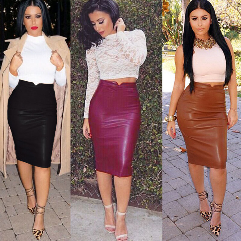 Women PU Leather Long Skirt Solid Color High Waist Slim Hip Pencil Skirts Vintage Bodycon Skirt Sexy Clubwear HO861775