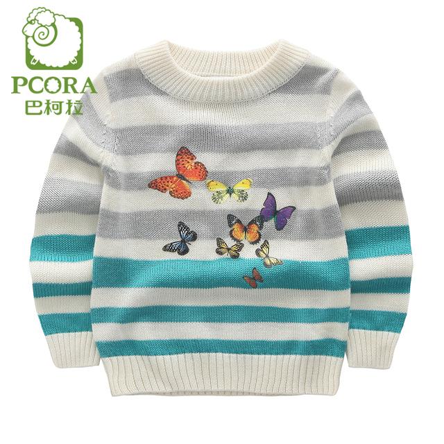 Pcora crianças meninas o-pescoço camisola de malha pescoço rib & cuff azul listrado tamanho 3 t ~ 5 t outono/infantis de inverno meninas roupas de marca