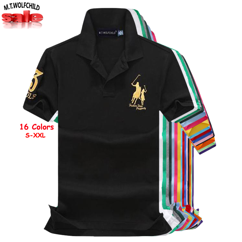 Top quality 2019 Summer big horse men's short sleeve   polos   shirts cotton casual brand mens   polos   shirts fashion mens slim tops