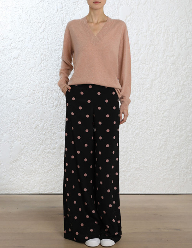 Women Silk Black / Rose Dot Print Unbridled Flared   Wide     Leg     Pant   With Side Slant Pockets