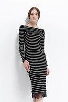 2018 Spring New Fashionable Women Dress Stripe Slender Long Sleeves Slim Medium Long Dress For Women