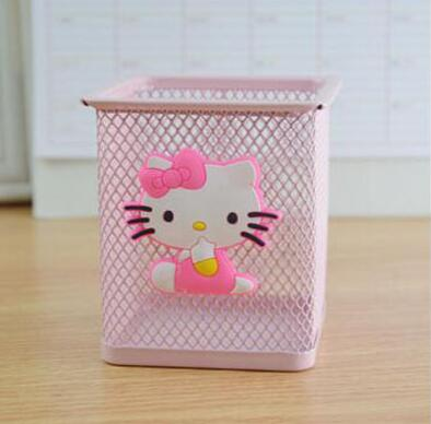 1 Pcs/set Cute Kawaii Hello Kitty Metal Stationery Storage Box Household Manage Case Pencil Pen Holder Stand Student Stationery