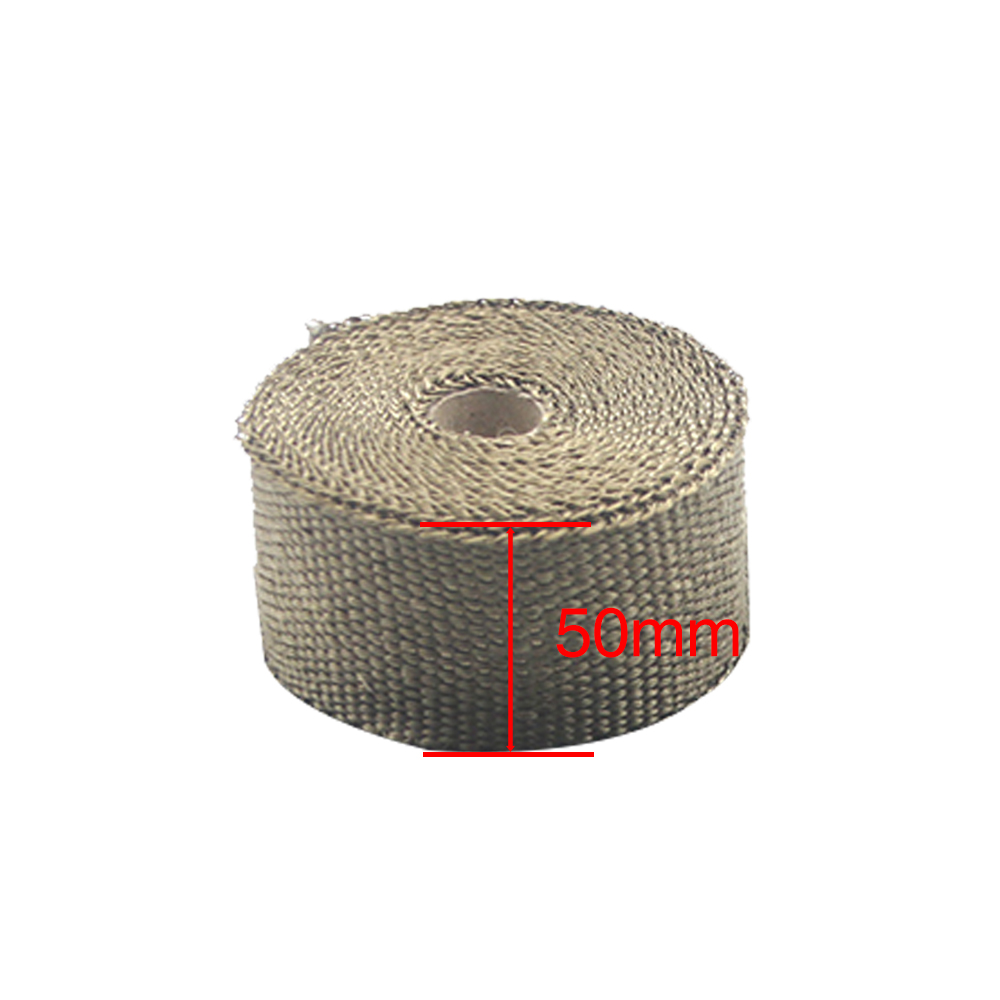 Image 2 - ZSDTRP 5cm*5M 10M 15M Titanium/Black Exhaust Heat Wrap Roll for 