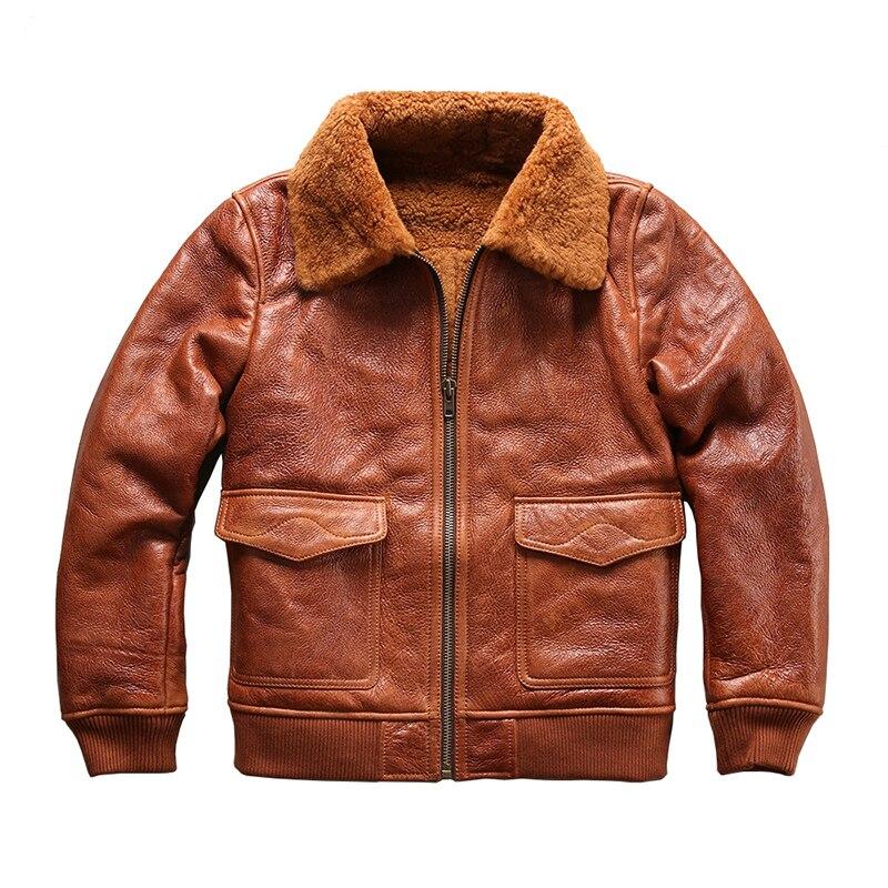 8013 formato europeo di qualità eccellente caldo genuino giacca di pelle di pecora mens grande formato shearling bomber militare pelliccia G1 giacca