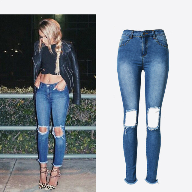 c3c91bc65fe Ripped Hole Jeans For Women High Waist Stretch Denim Blue Jeans Sexy Ankle  Length Skinny Summer Fashion Boyfriend Jeans Femme
