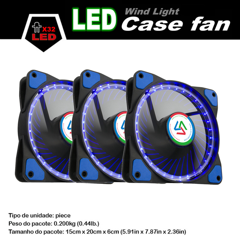 ALSEYE 120mm LED Cooler Fan (3 pieces/lot) Computer Case Cooling Fan 32 LEDs Cooler DC 12v 3pin 1100RPM Ultra Qiuet Fans computer cooler radiator with heatsink heatpipe cooling fan for hd6970 hd6950 grahics card vga cooler