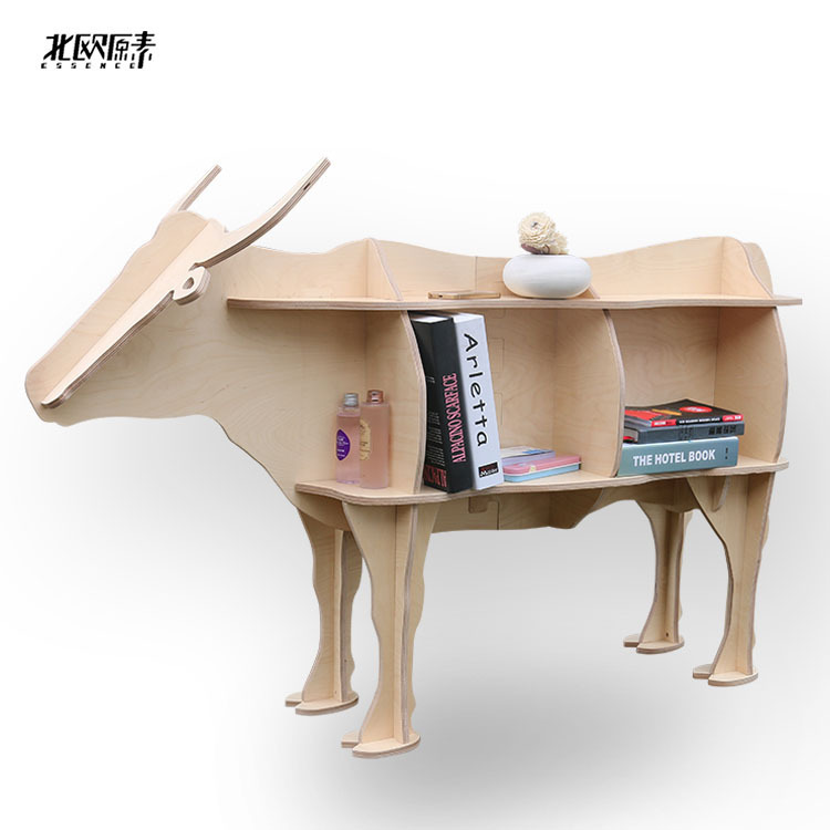 Scandinavian bovine animal mascot shelving creative shelves wooden ornaments home decorations,Nordic hotel restaurant decor